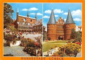 Hansestadt Luebeck Marktplatz mit Rathaus Holstentor Town Hall