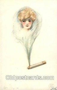Artist Signed Samuel Schmucker 1907 light tab marks from being in album, writ...