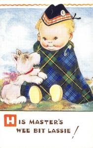 His Master's Wee Bit Lassie! Mabel Lucie Atwell Signed Postcard