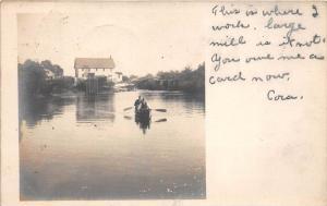 7866  RI Shannock   Factory Mill , Men in Canoe on river  RPC