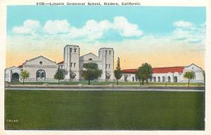 Madera California~Lincoln Grammar School~1920s Postcard