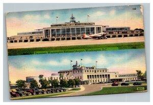 Vintage 1940's Postcard -  Washington National Airport Old Plane Washington DC