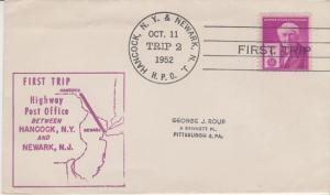 FIRST TRIP HIGHWAY POST OFFICE mail between Hancock, NY & Newark, NJ, 1952 COVER