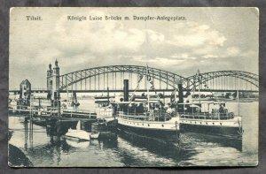 dc1101 - TILSIT Ost Prussen 1910s Steamers. Bridge. Postcard