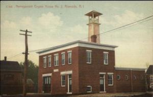 Riverside RI Narragansett Fire Engine House #2 c1910 Postcard