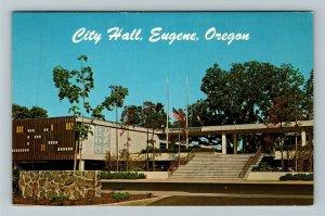 Eugene OR- Oregon, City Hall Eugene, Government Building, Chrome Postcard