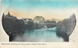 Fergus Falls Minnesota~Government Bldg & Railroad Bridge over River~House~1911