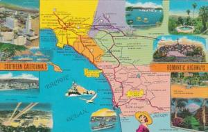 Map Of Southern California's Romantic Highways 1960