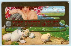 Art Nouveau BEST EASTER WISHES Baby Chicks Artist Signed 1910  Postcard