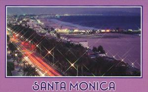 California Santa Monica Palm Tree Lined Ocean Avenue At Night