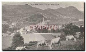 Old Postcard Lourdes view on the Basilica Cows