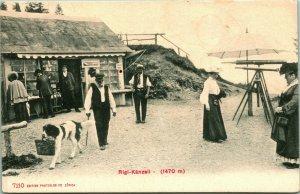 Vtg Tarjeta Postal 1910s Rigi Kanzell Pilatus Suiza Turismo Con Telescopios