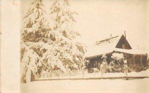 RPPC Coberly Home, Silverton, Oregon Winter House 1909 Vintage Photo Postcard