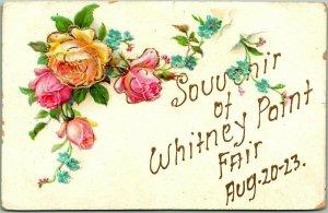 1910s New York Embossed Greetings Postcard SOUVENIR OF WHITNEY POINT FAIR