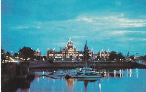 Parliament Buildings, Inner Harbour, Light Outline, VICTORIA, British Columbi...