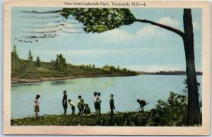 Yarmouth, Nova Scotia NS Canada Postcard View from Lakeside Park Children 1940
