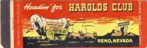 Classic Reno, Nevada/NV Matchcover, Harold's Club,Stagecoach