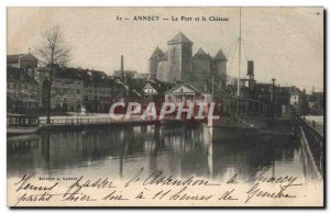 Old Postcard Annecy Boat Harbor and Chateau