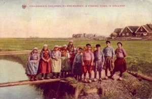 1909 FISHERMAN'S CHILDREN, EILAND-MARKEN, A FISHING TOWN IN HOLLAND clumsy shoes