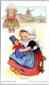 Vintage SWIFT'S PREMIUM BUTTERINE Advertising Postcard Dutch Girl c1909 UNUSED
