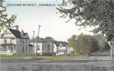 Second Street Scene, Odebolt, Iowa ca 1910s Vintage Antique Postcard