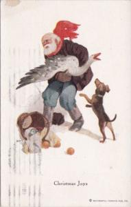 Christmas Joys Santa Claus With Goose 1918