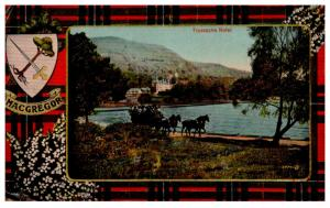Scotland Lock katrine , Hotel Trossachs , MacGregor Crest and color of plaid