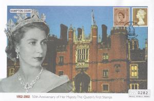 Hampton Court Queen Elizabeth II Golden Jubilee Rare Stamp 50th Anniversary FDC