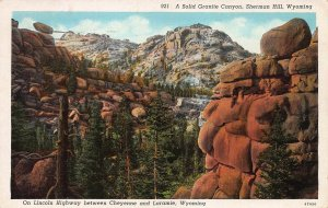 A Solid Granite Canyon, Sherman Hill, Wyoming, Early Postcard, Used in 1941