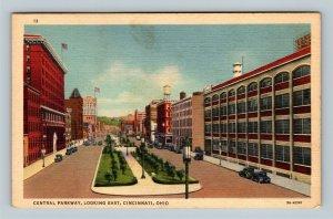 Cincinnati OH, Central Parkway, Looking East, Linen Ohio Postcard