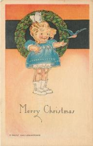 Emily Hall Chamberlin~Little Victorian Girl~Bluebird Flies From Hand~Christmas