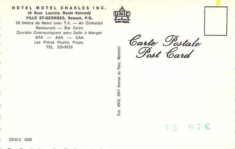 Carte Canada Avec Ville.Canada Quebec Beauce Ville St George Hotel Motel Charles Inc