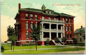 1915 Fargo, North Dakota Postcard St. Luke's Hospital Building Front View
