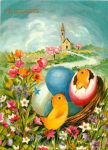 Easter chicks fantasy flowers chickens poulins landscape Felicidades Argentina