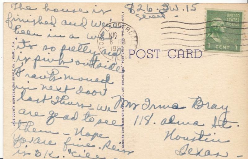 Beautiful Island Home, Fort Lauderdale, Florida, 1950, used Postcard