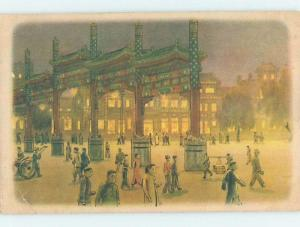 Old Postcard MANY PEOPLE WALKING AT NIGHT Country Of China F4844
