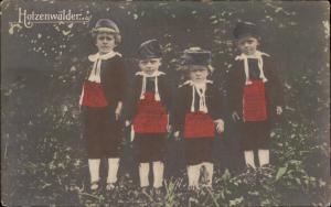 Hotzenwalder Kinder children traditional costume hand coloured postcard