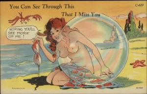 Curt Teich Nude Woman Topless Sexy Woman on Beach C-619 Linen Postcard