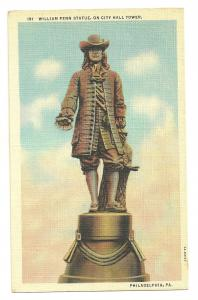 1940s William Penn statue on city hall tower, Philadelphia, Pa