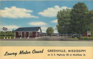 Greenville MS~Lowry Motor Court~McAllister St~Cafe Grill~Steaks~BBQ~1955 Linen