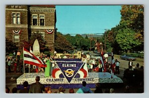 Elkins WV, Chamber Float, Grand Feature Parade, Chrome West Virginia Postcard
