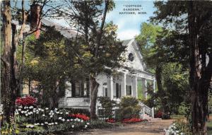 Natchez Mississippi~Beautiful Cottage Gardens House~Info Bk~40s Linen Postcard