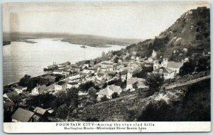 FOUNTAIN CITY Wisconsin Postcard Bird's-Eye View Burlington Route Railroad 1910s