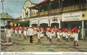 Suva Fiji Band of Fiji Military Unused Charles Stinson Litho Postcard G27
