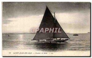 Old Postcard Saint Jean De Luz Sunset Boat