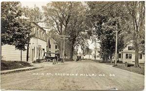 Goodwins Mills ME Dirt Main Street View Truck RPPC Real Photo Postcard