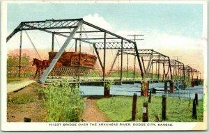 1916 DODGE CITY Kansas FRED HARVEY Postcard H-1237 Bridge Over Arkansas River