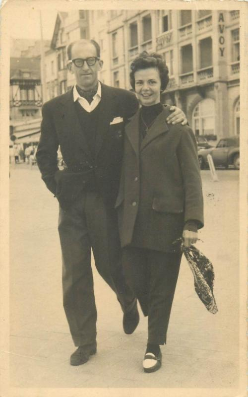 Real photo postcard 1950s tourists in Belgium snapshot