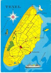 Holland, Netherlands, Texel, Map, 1977 used Postcard