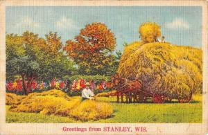 Stanley Wisconsin Hay Cart Greeting Antique Postcard K431416